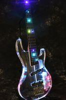 ingrosso luci chitarra elettrica acrilica-New Factory Store 5 corde Crystal Electric Basso-Basso elettrico chitarra elettrica con luce LED multicolore