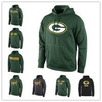 siyah sweatshirt xxl toptan satış-Green Bay Packers Sideline Devre Gri Uygulama Performansı Sweatshirt Pro Line Siyah Altın Koleksiyon Kazak Baskı Hoodies