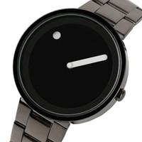 Wholesale Unique Stainless Designs - 2018 New Arrival Full Steel Watch Men Unique Dot and Line Design Casual Fashion Quartz Wristwatch Modern Creative Round Dial Male Hour Clock