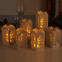 ingrosso tè diverso-Diversi modelli di paralumi di carta per Natale, data, compleanno, festival e così via, copertura a lampada cava tagliata a laser, piccola lampada da tavolo.