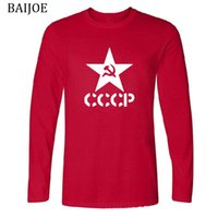 Wholesale Soviet Union - HOT SELL 2018 New Brand CCCP Russian T Shirts Men USSR Soviet Union Long Sleeve Slim Fit T Shirt Men Cotton T-Shirt Europe Size