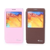 Wholesale galaxy note3 flip cover online - Flip Smart View PU Leather Case Cover for Samsung Galaxy Note3 N9000 Brown
