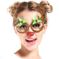 Wholesale toy christmas horns - Funny Glasses Brown Color Horns Of Elk Design Eyeglasses For Christmas Theme Decoration Festival Party Cosplay Props Free Shipping 8sf Z