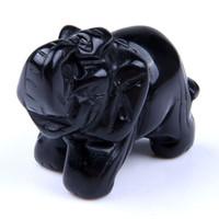 ingrosso elefanti figurina-Naturale 2 pollice Nero Ossidiana Elefante pietra scolpita Artigianato Figurine Feng Shui guarigione Reiki Chakra Cristallo sacchetto Flanella libera