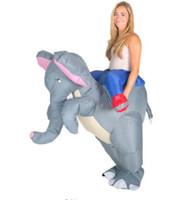 traje de elefante azul venda por atacado-Adulto Engraçado Animal Inflável Elefante Fancy Dress Costume Outfit azul elefante Mascot Costume Halloween Purim Stag 150cm-200cm