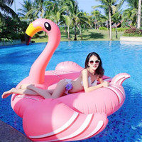 Wholesale Giant Party Ring - Giant Inflatable Flamingo Pool Float Toys 190*190x130CM Swimming Ring Circle Party Decoration Inflatable Mattress Beach Toys OOA4574