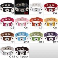 pu armbänder schnappen großhandel-Mode NOOSA Rvica Chunk Bracelets Trendy Armband Druckknopf 14 Farben PU Lederarmband DIY Schmuck Großhandel