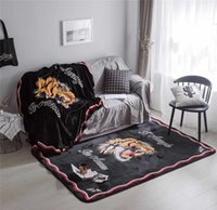 Wholesale head throw - Tide Brand Tiger Head Printing Blankets Coral Fleece Throw On Sofa Bed Plane Carpet Air Conditioning Nap Rug Blanket