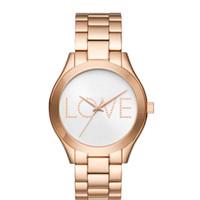 часы девушки любят оптовых-Мода Кристалл письмо любовь дизайн Марка женская девушка циферблат стальной металлической лентой Кварцевые наручные часы M6239