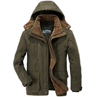 Wholesale clothes styles for plus size online - Men Clothes Winter Jacket Men Military Style High Quality Thicken Fleece Parka Coat Cotton Padded Jacket Plus Size Xl for Men