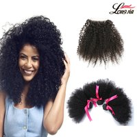 Wholesale afro kinky hair weave closure resale online - Malaysian Arfo kinky Hair Weave Bundles Unprocessed human hair bundles with closure free part Malaysian Human Virgin afro kinky hair