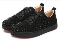 Wholesale studded shoes for men resale online - 2019 Designer Shoes Brand Studded Spikes Flats shoes Red Bottoms Shoes For Men and Women Party Lovers Genuine Leather Sneakers