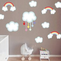 arte de la pared pegatinas nube al por mayor-Envío gratis Rainbow Cloud etiqueta de la pared extraíble PVC Decal Colorful Art Wallpaper para la habitación del niño DIY decoración para el hogar V309