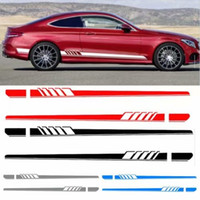 Wholesale sticker stripe - Auto Side Skirt Car Sticker AMG Edition Racing Stripe Side Body Garland for Mercedes Benz C Class W204 W205 2pcs pair