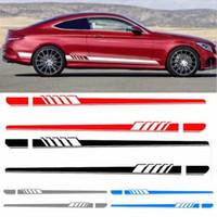 ingrosso autoadesivi del corpo della ghirlanda-Auto Side Skirt Car Sticker Edizione AMG Racing Stripe Side Body Garland per Mercedes Benz Classe C W204 W205 2 pezzi / paio
