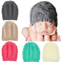 Wholesale toddler boy fitted resale online - 5styles Baby knitting wool Crochet hats autumn winter toddler kids boy girl knitted warm caps Infant Unisex Photography props FFA1041