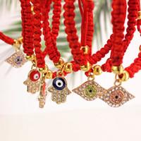 Wholesale string bracelets resale online - China Red String Bracelet Evil Eye Palm Bead Protection Health Luck Happiness Charm Bracelets Jewelry
