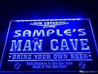 name geführt großhandel-DZ032b-Name personalisierte benutzerdefinierte Mann Höhle Baseball Bar Bier LED Neon Bier Zeichen