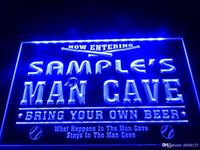 ingrosso segni della birra da baseball-DZ032b- Nome Personalizzato Man Cave Baseball Bar birra al neon personalizzato segno birra uomo