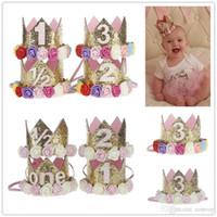 doğum günü saç toptan satış-Bebek Kızlar Çiçek Taç bantlar kızlar Doğum Günü Partisi Tiara hairbands çocuklar prenses saç aksesuarları Glitter Sparkle Sevimli Bantlar KHA487