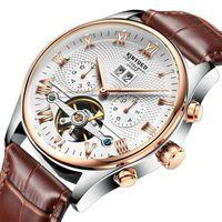 çin otomatik kol saati toptan satış-Hediye Kutusu Çin moda Gold ile Erkekler su geçirmez İsviçre otomatik Gün / Ay Tourbillon Mekanik İzle Gerçek deri kemer kol saati saatler