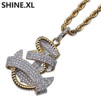 anker halskette für männer großhandel-Halsketten-Goldfarbe der Hip Hop-Männer überzogene Anker-Anhänger-Kupfer-Halsketten-Anhänger-Art- und Weisefrauen-Schmuck-Großhandel
