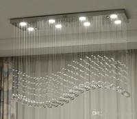 ingrosso design contemporaneo di illuminazione cristallo-Contemporaneo cristallo rettangolo lampadario a pioggia goccia plafoniera di cristallo design onda montaggio a filo per sala da pranzo