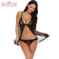 trajes abertos venda por atacado-Avidlove Sexy Lingerie Mulheres Sex Underwear Trajes Babydoll Sheer Conjunto Aberto Frente Nightwear Thong lenceria erótica Y1892810