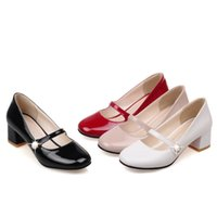 Wholesale comfort career shoes online - Girls Mary Janes Shoes Women Square Heels Buckle Strap Casual Comfort Shoes