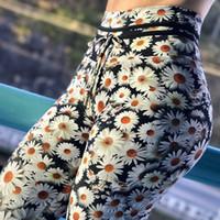 ropa de correr sexy al por mayor-Las mujeres atractivas que corren Daisy Print Yoga Pants Leggings deportivos Compression Pants Gym Clothes Yoga Tights Fitness gym wear