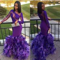 ingrosso abiti da sera viola neri-2019 I più nuovi Black Girls Purple Prom Dresses Mermaid Sexy Back Design With Ruffles Abiti da sera unici Appliques in pizzo Abiti da festa