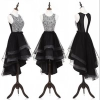 Wholesale Cheap Plus Size Formal Wear - Shinning High Low Cocktail Dresses Sequined Top Open Back Short Prom Dress With Bow Layered Tulle Cheap Homecoming Dress Formal Girls Wear