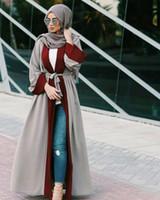 ropa de mujer islámica moda al por mayor-2019 Moda Islámica Ropa Abaya Colección Mujeres Dubai Diseño Estilo kimono Abrir Abaya