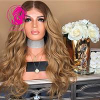 ingrosso oro remy-Fantasia 150% calde radici marroni con oro rosa ombre colore pieno merletto parrucche dei capelli umani Pre capelli ricci parrucca di remy con i capelli del bambino