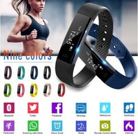 Wholesale pedometer step counter - Bluetooth ID115 Smart Band bracelet Pedometer Fitness Tracker Step Counter Activity Monitor Band Alarm Sport Wristband for IOS Android