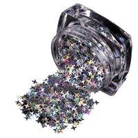 ingrosso stella di adesivi glitter-1 paillettes per unghie per decorazioni polacche per unghie Glitter Art Star Fiocchi adesivi fai-da-te Decorazione artistica iridescente trasparente