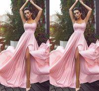 платья с длинными рукавами оптовых-2018 Новый Сплит розовый Bridesmaids платья спагетти кружева топ шифон высокая щелевая Лонг-Бич Boho фрейлина свадьба гость платья дешевые пользовательские