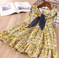 Wholesale Animal Fasion - Girl Princess Dress Baby Girl Summer Leaf Dress Girl Fasion Yellow Floral Dresses 6 p l