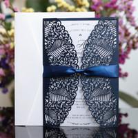 papillons bleu marine achat en gros de-Papillon bleu marine épouser la carte pays invitation de découpe laser enveloppe enveloppe impression personnalisée libre partie du navire fournisseur