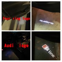 ingrosso proiettore logo per auto audi audi-2x LED porta auto Welcome Light Proiettore laser Sline Logo per Audi A1 A3 A5 A6 A8 A4 B6 B8 C5 80 A7 Q3 Q5 Q7 TT R8 slline