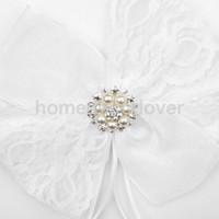 Wholesale Party Guest Books - Wholesale- Wedding Ceremony White Guest Book Pen Set Lace Bow Diamante Pearl Decorating