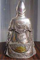 "Wholesale Tibetan Bronze Buddha Statue - bi001635 8"" tall Tibetan Buddhist bronze cated silver Kwan Kuan Guan Yin Buddha statue"