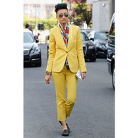 frauen s gelbe business jacken großhandel-Benutzerdefinierte neue stil gelb damenhosenanzug slim fit weiblichen anzug 2 stück frauen smoking maßgeschneiderte jacke + hosen