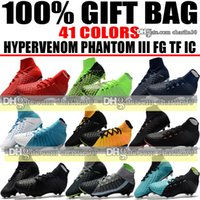 Wholesale Sports Indoors - New 2018 High Ankle Football Boots Hypervenom Phantom III DF FG ACC Soccer Shoes EA Sports Hypervenom Indoor TF IC Turf Soccer Cleats Socks