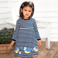Wholesale autum girl - Girl Butterfly Appliqued Striped 100% Cotton Dress Unicorn Tunic Dress A-line Baby Girl Party Dress Clothing Spring Autum Children Clothing