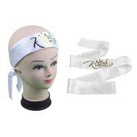 namensmarke krawatten großhandel-Benutzerdefinierte Marke Logo Name schwarz / weiß / Pink Virgin Haar wickelt Band Satin Seide Haar Schal, Haar Streamer, Haargummi, Kopf wickelt