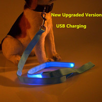 Wholesale rechargeable led dog collar online - B02 solid Pet dog LED leahses leads pet traction rope Pull strap for dogs cats cm length battery and USB Rechargeable