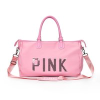 16a7831f0cbb Pink Sequins Letter Travelling Shoulder Bags Oxford Cloth Sports Fashion  Women Duffle Handbags Totes beach bag