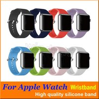 38mm renkli izle toptan satış-Spor Katı renk Kayış Değiştirme Silikon Bilek Bilezik Spor Band Apple Saat Kayışı iwatch metal Klasik Toka ile 38mm 42mm