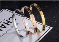 Wholesale crystal roman bracelets resale online - Stainless Steel Bracelets Bangles Women Cuff Crystal Roman Numerals Bracelets Gold Color Women Party Jewelry